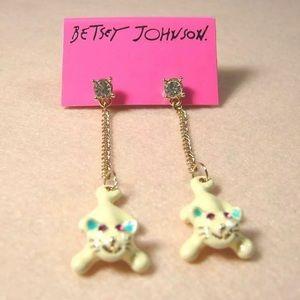 NEW✨ Betsey Johnson Long Dangle Kitty Cat Earrings